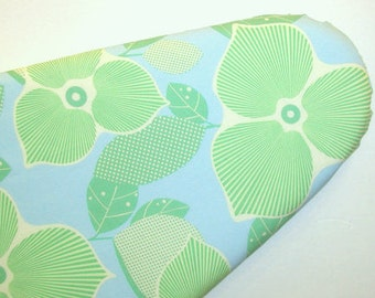 Ironing Board cover - Amy Bulter Midwest Modern - Mint green leaves and light yellow on light blue fabric.