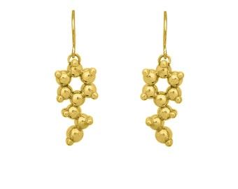 Phenylethylamine Molecule Gold Vermeil Earrings