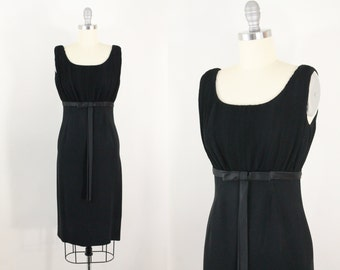 60s dress - 1960s wiggle dress with bow - cocktail dress
