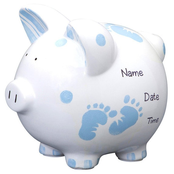 Personalized large piggy bank blue baby boy feet newborns - Coin banks for boys ...