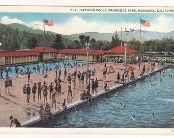 Bathing Pools, Brookside Park, Pasadena, California Postcard, 1938, Vintage Swimming, Summer Ephemera