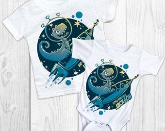 DINOSAUR Shirt SET Big Brother Little Brother Shirt Set Personalized Shirts Baby bodysuit SET