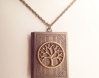 Tree of Life Book Locket / Pick Your Length / Book Lovers Gift Renaissance Faire Boho Pendant LARP Wedding Story Family Tree Photo Under 20