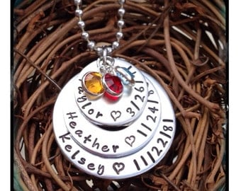 Personalized Hand Stamped Layered Birthdate Necklace