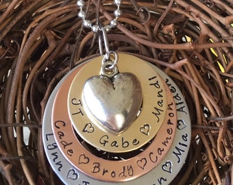 Personalized Hand Stamped Multi Metal Necklace