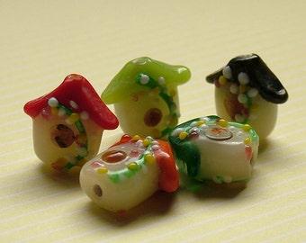 Glass lampwork bird house beads set of 5