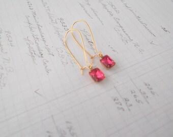 Dainty Pink Dangle Earrings Gold Plated Earrings