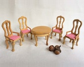 Vintage Dollhouse Furniture, Miniature Wood Round Table and 4 Wood Chairs with Gingham Cushions, Dollhouse Table and Four Chairs