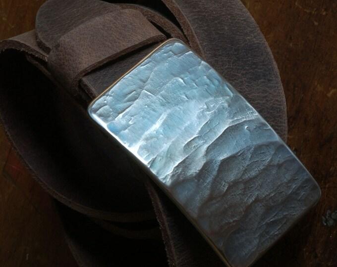 Blue Jean Denim Belt Buckle Hand Forged Woodgrain Hypoallergenic Accessories for Blue Jeans Chinos Workwear Weddings Boardroom or Beachwear