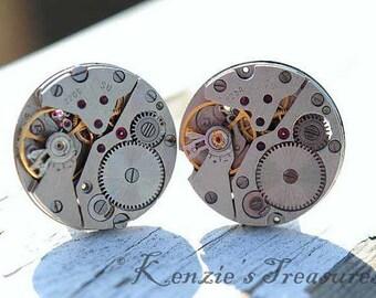 Matching Round Steampunk Cufflinks - Vintage Russian Zarja Watch Movements