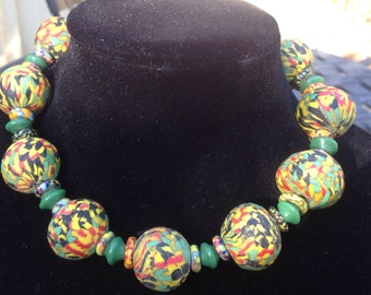 African trade bead choker necklace