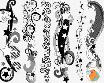 Star Clip Art Border Swirls, Star Border ClipArt, Graduation Invitation ClipArt, Swirl Borders, Flourish ClipArt, Grad Card Graphic, Teacher