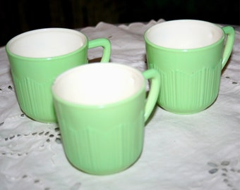3 late 1930s early 40s  Vintage Cremmax Demitasse MacBeth Evens Small Green Cups