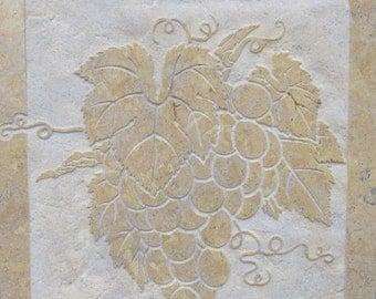 12x12 Giallo Provenza Limestone Etched Grapes Medallion - SRA