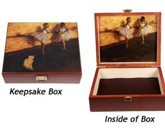 Edgar Degas, Large Keepsake Box, Cat Lover Gift, Ballerina, Jewelry Box, Memory Box, Tabby, Cat Art, Deborah Julian
