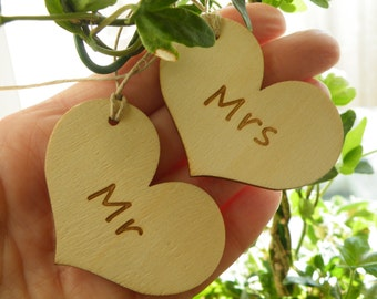 50% off this item, enter LOVE99 at checkout, Wood Heart Tags, His and Hers, Mr and Mrs, Wedding Decor, Wine Glass Charm, Wood Heart Charm