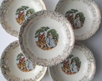 Vintage Dessert Bowls Victorian Style Cream Gold Set of Five