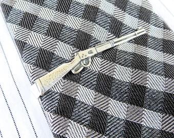 Rifle Tie Clip- Rifle Tie Bar- Sterling Silver Finish- Men's Accessories