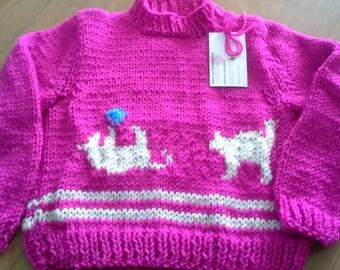 Handknitted Crew Neck Girls Pullover Sweater/Kittens