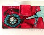 Handmade womens wallet clutch Big red poppy flower on aqua background - Custom wallet - large floral purse - Gift for her  - Made in USA