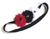Red White Black Flower Headband, Black Velvet Stretch Headband, Women's Red Black White Headband