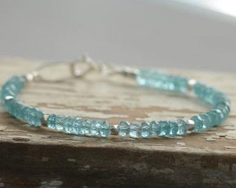 SALE Blue Apatite Gemstone Bracelet Layering Tennis Style Bracelet Sterling Silver Nugget Accents Fine Gemstone Jewelry