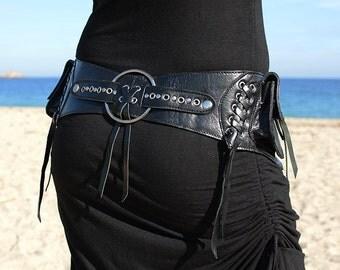 Leather Utility Belt |  Handmade Designer Pocket Belt | High Quality Hip Belt | Biker | Urban Gypsy | Burning Man | Festival Fashion |