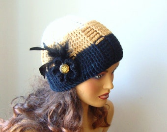 Crochet Dark Beige Black Iveroy Hat, Fall Fashion, Holiday Accessories, Winter  Fashion, Handcrochet Women Hat
