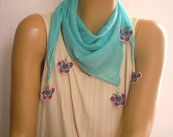 cotton scarf with crocheted butterflies, turquoise blue