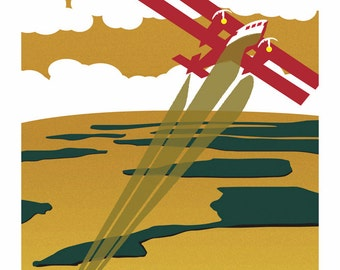 Lake Superior Shore Towns Series: Art Deco Apostle Islands Travel Prints - Free Shipping