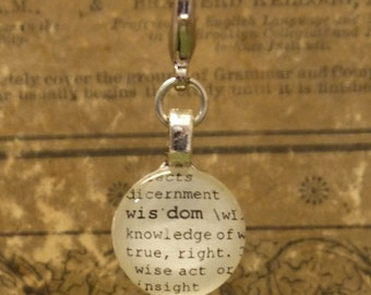 Wisdom Dictionary Word Clip-on Charm Antique Vintage Look Gift by Kristin Victoria Designs