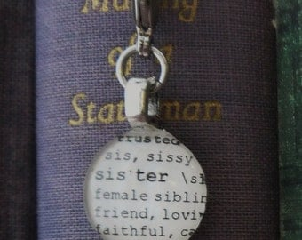 Sister Dictionary Word Clip-on Charm Antique Vintage Look Gift by Kristin Victoria Designs