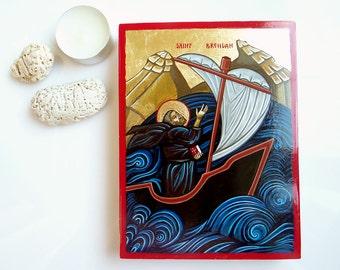 Saint Brendan, handpainted icon original, 5 by 6 inches, Nautical Irish Painting