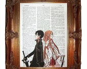 vintage dictionary art ink print - sword art online anime kirito and asuna holding hands print dictionary page prints on dictionary paper