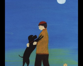 Boy and Dog Signed 10 x 8 inch  Folk Art Print from my original art
