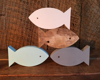 Set of 4 Wooden Fish - All Different Colors