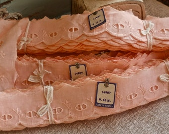 Vintage Trim, Antique Lace Trim. Pink Broderie Anglaise. Dolls Bears Funishings. Vintage Haberdashery. Old New Stock, 10 yards