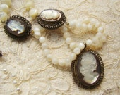 Antique Victorian Hand Carved Abalone Shell Cameo and Mother of Pearl Bead Necklace