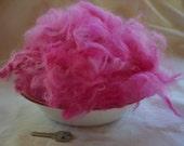 Pure Angora Rabbit Fiber in Rosey Pink - 1/2 ounce