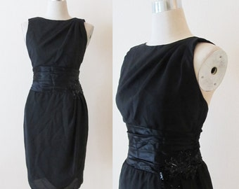 Vintage Cocktail Party Dress / Black Satin Wiggle Dress / 80's Classy Fitted Formal Sequined HOLIDAY Dress / Size X-Small