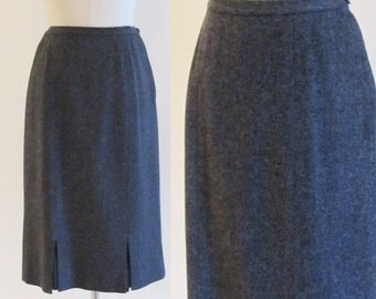 Vintage 1950's Grey Wool Pencil Skirt / Charcoal High Waist Wiggle Skirt / Size Small Mid Century