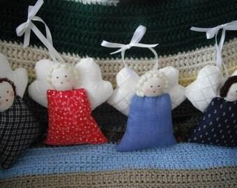 Angel Ornament / Home Decor / Angel Doll / Calico / Soft Sculpture
