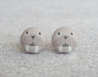 Walrus Fabric Button Earrings