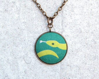 Green Snake, Fabric Button Pendant Necklace