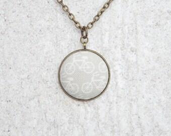 Grey Bikes, Fabric Button Pendant Necklace
