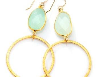 Aqua Earrings- Bezel Set Aqua Chalcedony Stone with Gold Vermeil Hoop - EG01