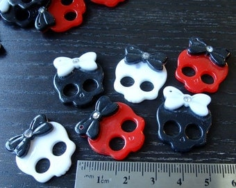 Destash (6) Plastic Skull Bow Rhinestone Buttons Skeleton - for pendants, jewelry making, crafts, scrapbooking