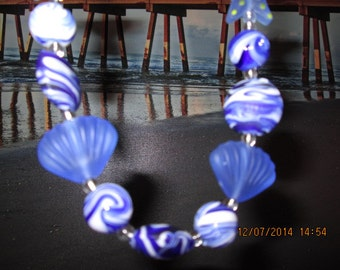 441 Beaded shell and starfish in the ocean handmade beach necklace