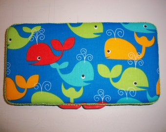 Blue Red Green Orange Whales Travel Baby Wipe Case- Personalization Available