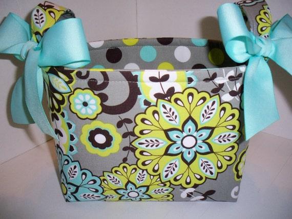 Grey Aqua Lime Brown Green Paisley Flowers Fabric Easter Basket / Small Diaper caddy / Organizer Bin